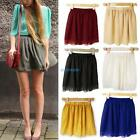 Womens Retro High Waist Pleated Double Layers Chiffon Short Pompon Mini Skirt