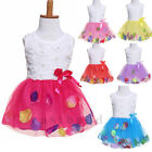 Baby Toddler Kids Girls Princess  Tutu Lace Bow Flower Christening Party Dresses