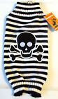 Dog Black White Stripes Skull Crossbones Halloween Sweater XXS XS S M XL NWT