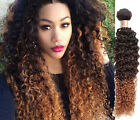 "Brazilian Human Hair Extension Curly Wave 12""-30"" Ombre Color 3TONE:1B/4/30# hOT"