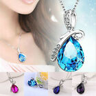 Chic Jewelry Girl Crystal Angel Tears Drop Water Pendant Necklace Brand New