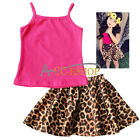 Fashion baby girls sleeveless top shirt +Leopard skirt 2 pc/set children clothes