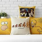 Cartoon Yellow The Simpsons Pillow Case Office Decor Cushion Cover Square Linen