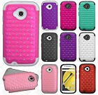 For Motorola Moto E 2nd Gen HYBRID IMPACT Dazzling Diamond Layered Case Cover