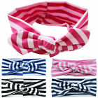Girls Kid Children Stretch Stripe Rabbit Bow Hair Band Headband Turban Head Wrap