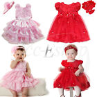 Infant Toddler Girl Birthday Party Flower Tutu Dress +Headband Baby Outfit 6-24M