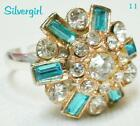 Fun Silver/Gold Plated Adjustable OOAK Rings With Rhinestones