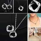"Letter""With You""925 Sliver Men Women Lover Couple Necklace Pendant Without Chain"