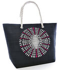 Womens Summer Aztec-Print Straw Design Beach-Pool-Swim-Tote-Shopping Large Bag