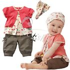 3pcs Baby Girls Toddler Short Top + Pants + Headband Floral Outfit Clothes Set