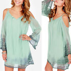 Sexy Women Long Sleeve Casual Evening Cocktail Party Short Mini Dress Green