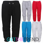 Womens 3/4 Jogging Bottoms Ladies Cropped Joggers Plain Capri Pants Plus Size