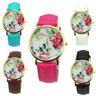 Charming Geneva Faux Leather Women Girl Rose Flower Watch Quartz Wrist Watches