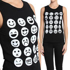 TheMogan Emoticon Graphic Printed Ribbed Muscle Tank Top Sleeveless T-shirts