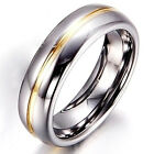 Tungsten Carbide 8MM Gold Grooved Grey Silver Men Wedding Ring Wedding Band M66