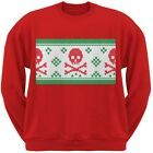 Knit Skull And Crossbones Ugly Christmas Sweater Red Adult Crew Neck Sweatshirt