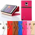 Zipper Anchors Leather Flip Wallet Case For Samsung Galaxy Note 4 Trendy