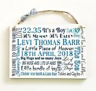 Personalised New Baby  Wooden Plaque Sign Keepsake Typography Gift W84
