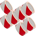 UK STOCK HAZARD WARNING PVC RED AND WHITE LINES TAPE BARRIER 50mm D275 NEW