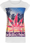 New Womens Addicted Leaf Ibiza Crepe Print Short Sleeve T-Shirt Ladies Top 8-14