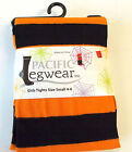 Orange Black Striped Halloween Child Tights S M NIP
