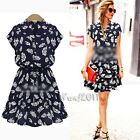 Women Sexy Vintage Floral Print Casual  Evening Cocktail Party Mini Casual Dress