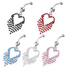 Chic Crystal Heart Tassels Dangle Navel Belly Button Barbell Ring Body Piercing