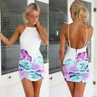 Women Slim Summer Floral Print Gallus Sleeveless Backless Beach Mini Dress Vogue