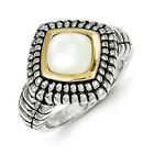 Mother of Pearl Ring .925 Sterling Silver 14K Gold Accent Sz 6 - 8 Shey Couture