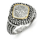 Diamond Ring .925 Sterling Silver & 14K Gold Accent 0.10 Ct Sz 6-8 Shey Couture