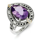 Amethyst & Diamond Ring Silver w/ 14K Gold Accent 0.01 Ct Size 6-8 Shey Couture