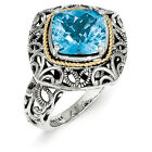 Blue Topaz Ring Sterling Silver & Gold Accent Cushion Cut Size 6-8 Shey Couture