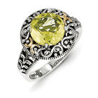 Lemon Quartz Ring Sterling Silver 14K Gold Accent Antiqued Size 6-8 Shey Couture