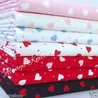 Per half metre/fat quarter cotton poplin hearts fabric 100 % cotton