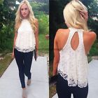 Women Sleeveless Lace Floral Sexy Backless Casual Loose Shirt Top Blouse