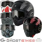 Shark Raw Cult Motorcycle Helmet Plus Goggle & Mask Kit Aggressive Camo Urban