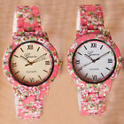 Flowers Edge Alloy Printing Watch Girl Accessory 2 Background Color Gum Metal