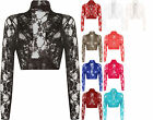 Plus Womens Floral Lace Long Sleeve Stretch Short Shrug Ladies Cardigan 14-28