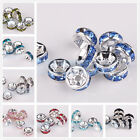50pcs 6mm Czech Crystal Rhinestones Silver Plated Rondelle Spacer Beads Caps