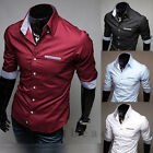 NEW Mens Button Casual Shirts Slim Fit Seven Sleeve Dress Shirts Solid Tops