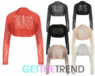 Womens Cropped Lace Shrug Ladies Long Sleeve Lace All Over Bolero Dress Coat