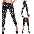 New Womens Ladies Small Skull Cross Bone Print Full Length LEGGINGS Size 8-14-18