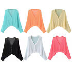 Womens Knitwear Cardigan Top Crop V Neck Batwing Sleeve Solid Color Cotton