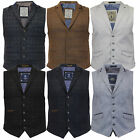 Mens Waistcoat Wool Tweed Formal Vest Herringbone Check Velvet Collar Classic