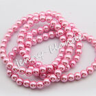 Wholesale Pink Glass Pearl Gemstone Spacer Loose Beads Finding 4/6/8/10/12mm