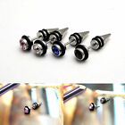 CHIC 2*Silver Crystal Stainless Steel Ear Stud Earrings Spike Men Punk Gothic