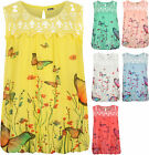 Plus Womens Crochet Butterfly Print Lined Sleeveless Ladies Lace Vest Top 16-26