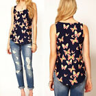 New Women's Butterfly Print Tank Top Vest Chiffon Blouse T-Shirt Sleeveless