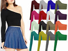 Womens Off Shoulder Plain Jersey Crop Top Ladies One Sleeve Dance Basic Vest