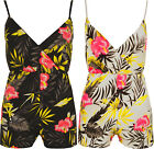 New Womens Strappy Floral Print V Neck Shorts Top Ladies Crepe Playsuit 8-14